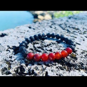 Jewelry - Handmade Fire Agate Bracelet w/ Lava Stone